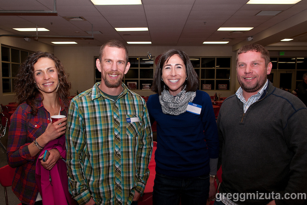 Drew Erickson, Sara Wright, and Jon Wright at Coach David Mills retirement party on December 21, 2013 at Boise High School. Dave was a cross country coach for 34 years at Boise High School
