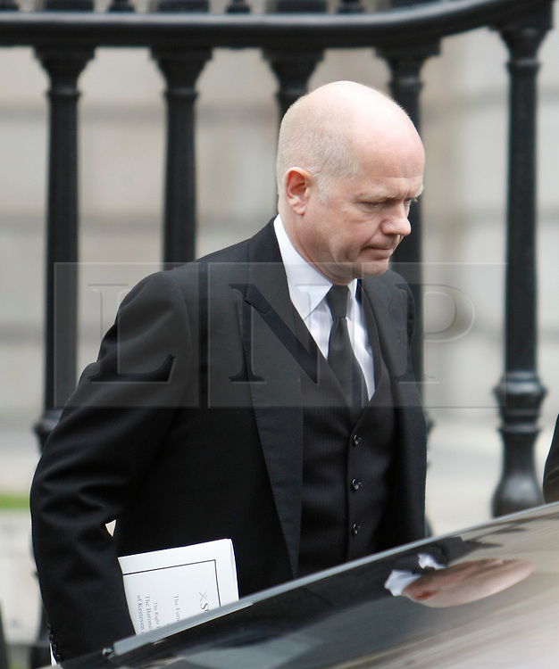 © Licensed to London News Pictures. 17/04/2013. London, U.K..Rt Hon William Hague MP leaving St. Pauls Cathedral after the ceremonial Funeral with military honours of Baroness Thatcher , the first female Prime Minister of United Kingdom (today 17/4/2013), who died last week of a stroke..Photo credit : Rich Bowen/LNP