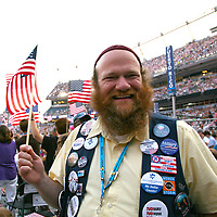 Wyoming Delegate Dr. Jason Bloomberg on the floor of the Democratic National Convention, Invesco Field at Mile High Stadium, Denver, Colorado, August 28, 2008.