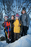 1.14.2012  Aidan SmithVail (14), Jacob Lowell (11), Saywer SmithVail (11), and Charlie Lowell (13) build a snow fort, Anchorage
