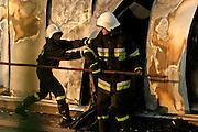 11.05.2006 Stara Iwiczna village, Poland. Fire in Brilux bulb factory. Firemen in action. Photo Piotr Gesicki
