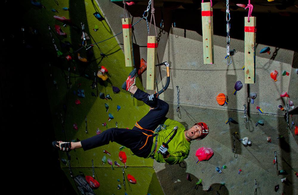 Marc Beverly mixed climbing at City Rock's ice night in Colorado Springs, Colorado