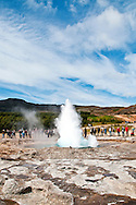 Strokkur, Icelandic for Churn, is a geyser in Haukadalur, Iceland. Haukadalur is also home to Geysir, the first recorded geyser known to Europeans.