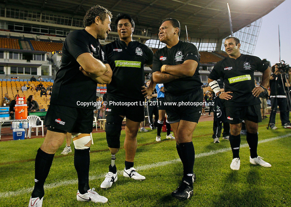 L_R, Kurt Sorenson, Tawera Nikau, Olsen Filipaina and Stacey Jones share a joke. Australia and New Zealand Legends of League Christchurch Earthquake Appeal Match, Mt Smart Stadium, Auckland, New Zealand, Thursday 10 March 2011. Photo: Simon Watts / photosport.co.nz