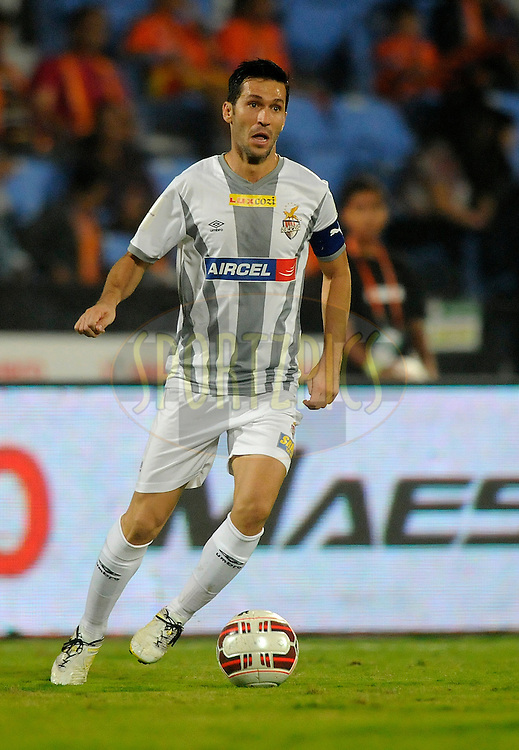 Luis Javier Garcia Sanz of Atletico de Kolkata during match 44 of the Hero Indian Super League between FC Pune City and Atletico de Kolkata FC held at the Shree Shiv Chhatrapati Sports Complex Stadium, Pune, India on the 29th November 2014.<br /> <br /> Photo by:  Pal Pillai/ ISL/ SPORTZPICS