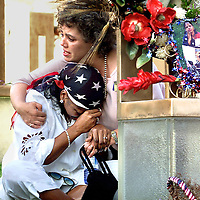 """fragm """"Judgement Day""""-At The Oklahoma Bombing Site, Deb Ferrell-Lynn (who lost her cousin Susan ferrell) hugs a sitting Constance Favorite (who lost her daughter LaKesha Levy) just moments after Timothy McVeigh's execution."""