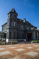 Old Fukuoka Prefectural Hall  was constructed in 1910 as a guest house for VIPS visiting the Kyushu and Okinawa Product Exhibition 13th Kyoshinkai. Its pseudo French Renaissance style mirrors many municipal buildings of the Meiji period in Japan. It has been designated as a national important cultural property as it is distinctive in that it is constructed of wood.   The building has been used for the regional high court, as prefectural education office and now the site of a cafe and tourist attraction.