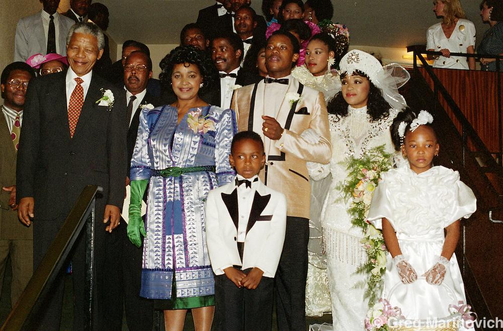 Johannesburg, South Africa 1992: Nelson Mandela at the wedding of Zinzi Mandela and Zweli Hlongwane, October 1992