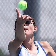 Caesar Rodney Natasha Sijan serves in the first set of a DIAA Tennis State final match Tuesday, May. 26, 2015 at UD Field House in Newark, DEL