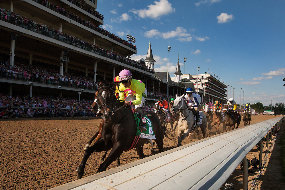 May 01, 2015:The field for the Kentucky Oaks Stakes races under the twin spires for the first time at Churchill Downs Louisville Ky. Alex Evers/ESW/CSM