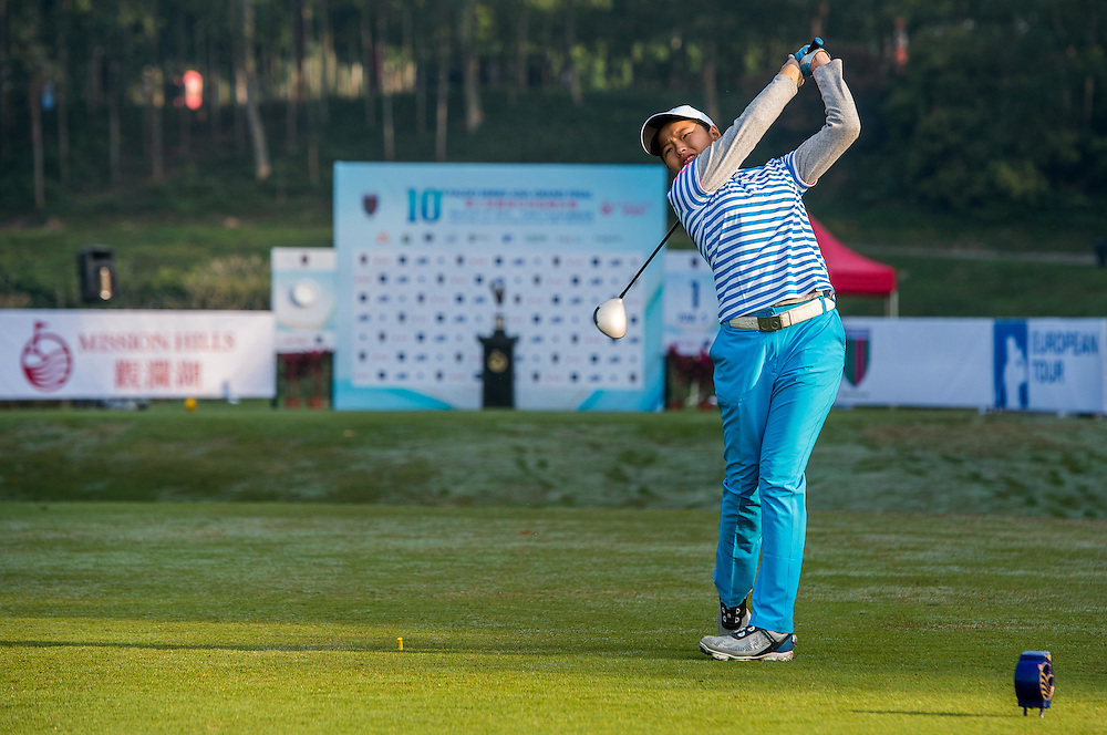 Winnie Ng Yu Xuan of Malaysia in action during day one of the 10th Faldo Series Asia Grand Final at Faldo course in Shenzhen, China. Photo by Xaume Olleros.