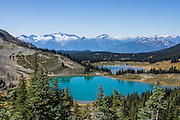 See Black Tusk Lake (foreground) and Mimulus Lake on the ascent of Panorama Ridge in the Coast Range, British Columbia, Canada. In the background rises the Tantalus Range. (In Greek mythology, Tantalus was doomed in Hades to be half-submerged in cold water with fruit dangling close but not close enough to eat, giving us the root of the word tantalize.) Garibaldi Provincial Park is east of the Sea to Sky Highway (Route 99) between Squamish and Whistler. The amazing Panorama Ridge is 6 miles (10k) RT with 2066 ft (630m) gain from either Taylor Meadows or Garibaldi Lake Campground (or 17 miles RT with 5100 ft gain from Rubble Creek parking lot). A hiking loop to Garibaldi Lake via Taylor Meadows Campground is 11 miles (18k) round trip, with 3010 ft (850m) gain.