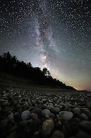 The core of the Milky Way shines brightly over Pictured Rocks National Lakeshore, Michigan's Upper Peninsula