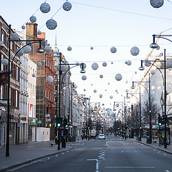 London, UK - 25 December 2014: empty streets of London on early Christmas morning.
