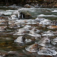 WA10000-00...WASHINGTON - Ice rimed rocks in the South Fork Snoqualmie River near Olallie State Park.