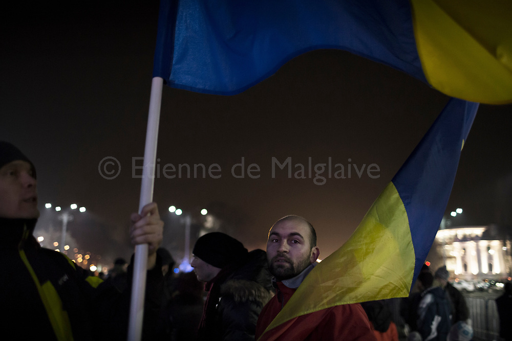 Protesters gathered in front of the government headquarters at the Victory square are now demanding resignation of PM Sorin Grindeanu. 15 February 2017.