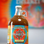 8/21/13 4:18:36 PM -- Boulder, CO  -- A bottle of Bhakti Chai concentrate. Bhakti uses fresh pressed organic ginger and fiery spices in a micro-brewed Black Tea. The small company currently employs about 30 people and the company name is Sanskirt for devotion through social action.  --    Photo by Marc Piscotty, Freelance