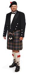 Scottish man in kilt on white background