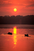 Image of Claytor Lake with rowers and boaters, Virginia, east coast
