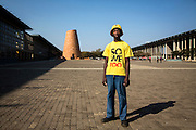 Vusimuzi Ngcobo, 26, from Kliptown, pictured in Walter Sisulu Square, Kliptown, Soweto, Johannesburg, South Africa. The Freedom Charter was officially adopted here on 26 June 1955 at a Congress of the People. The gathering was eventually broken up by the police with Nelson Mandela escaping in disguise.