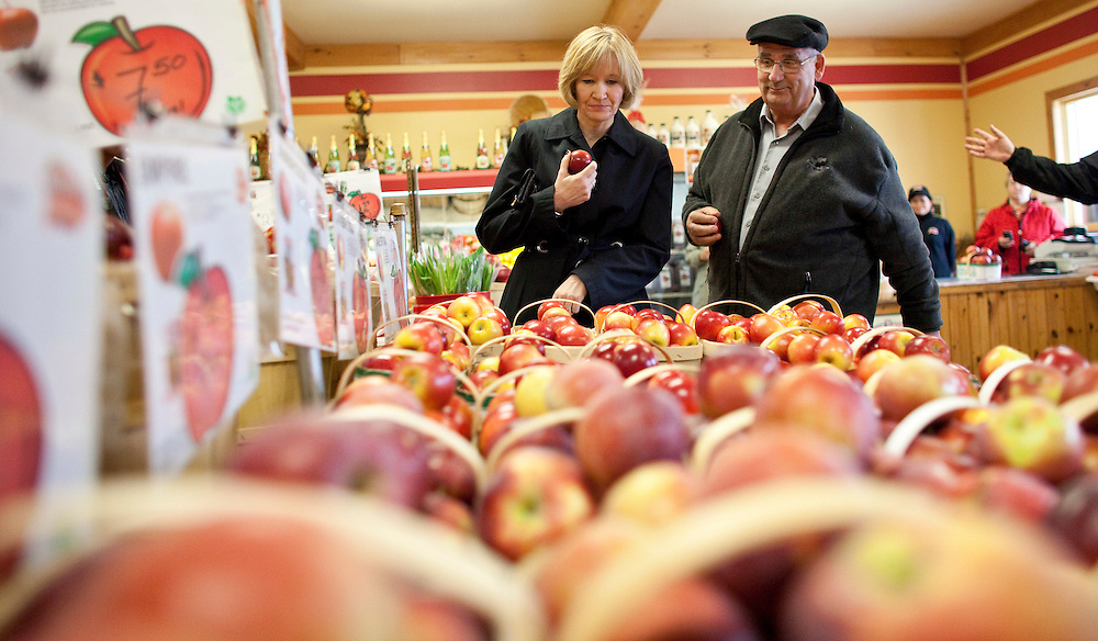Laureen Harper, wife of conservative leader Stephen Harper shop for apples during a campaign stop at Martin's family fruit farm in Waterloo, Ontario, April 27, 2011. <br /> AFP/GEOFF ROBINS/STR