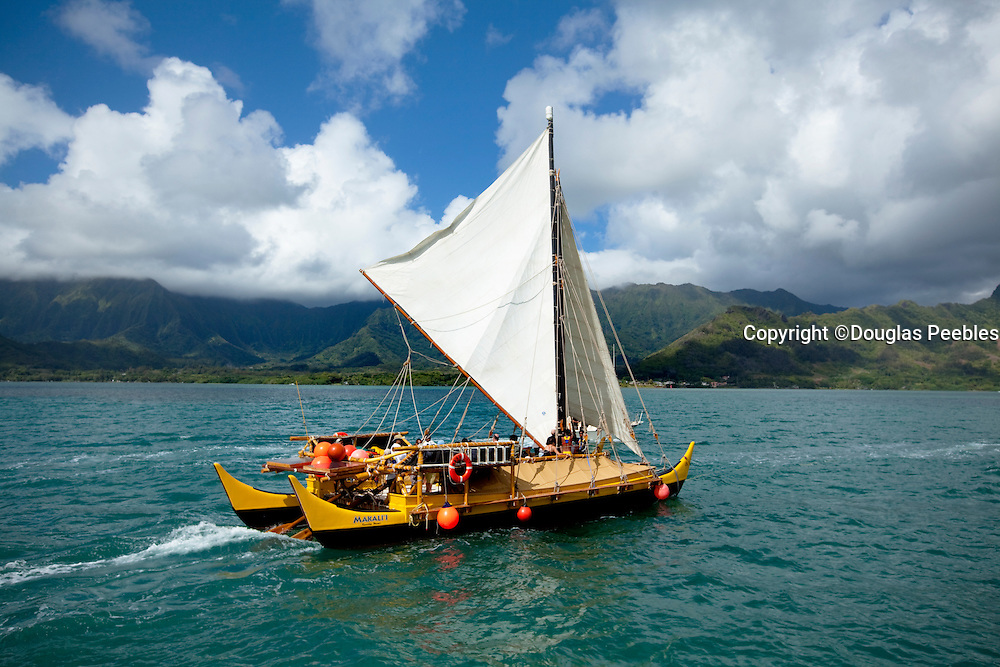 Makali'i, Hawaiian sailing canoe Kaneohe Bay, Oahu, Hawaii