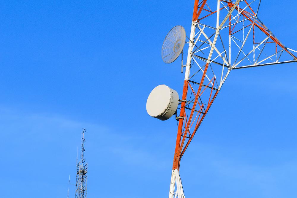 Microwave dish antenna on television broadcast transmission lattice tower