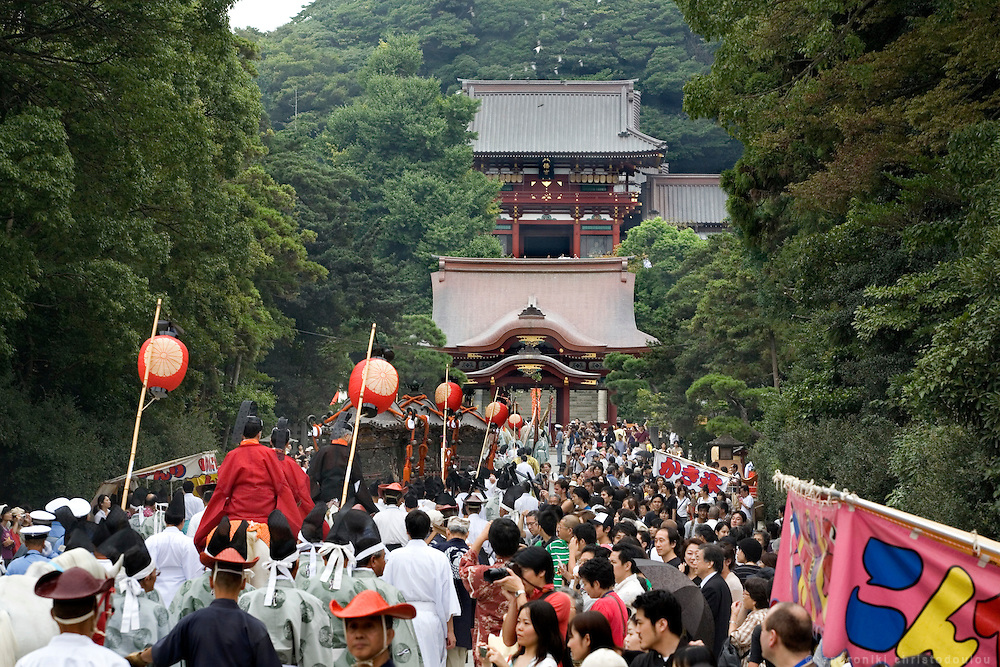 Religious procession with portable shrines returning to the shrine, during the second day of the 3-day anual festival of Tsurugaoka Hachimangu Shrine in Kamakura.
