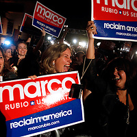 CORAL GABLES, FL -- November 2, 2010 -- Marisa Da Silva of Miami, left to right, Gladys Llanes of Miami, and Lourdes Sanchez cheer for Republican Senate candidate Marco Rubio after his win was called at The Biltmore Hotel in the Coral Gables area of Miami, Fla., on the Mid-Term Election Day on Tuesday, November 2, 2010.  Rubio won the three-way race for the seat over Independent Gov. Charlie Crist and Democrat Kendrick Meek.