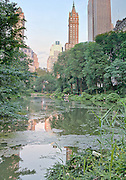 Central Park South Lake with the Sherry Netherland in the background