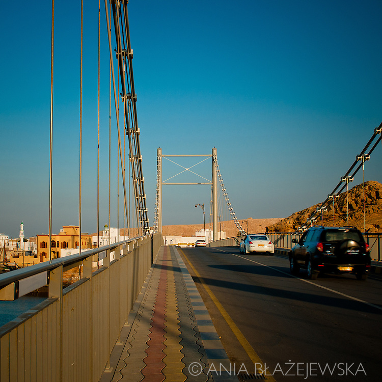 Oman. Bridge connecting Sur with al-Ayjah village situated nearby.