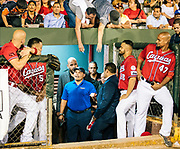 SAN JUAN, PUERTO RICO - JANUARY 25, 2017: Newly elected Hall of Famer Ivan Rodriguez receives a hero's welcome from owners, players, former players and the fans before a night game in Caguas, the team for whom he played in the Puerto Rican Winter League, at Parque Yldefonso Sola Morales, during his celebratory return to Puerto Rico, on January 25, 2017 in San Juan, Puerto Rico. (Photo by Jean Fruth)