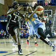 Chicago Sky Center CLARISSA DOS SANTOS (8) drives to the basket as New York Liberty Center ADUT BULGAK (2) defends in the first period of a WNBA preseason basketball game between the Chicago Sky and the New York Liberty Sunday, May. 01, 2016 at The Bob Carpenter Sports Convocation Center in Newark, DEL