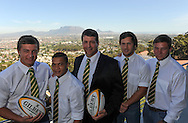 CAPE TOWN, SOUTH AFRICA - Thursday 25 April 2013, Handre Pollard (fly half), Cheslyn Kolby (full back), Dawie Theron (coach), Jan Serfontein (centre) and Ruan Steenkamp (flank, captain) during the official team announcement at SARU House, of the Springbok u/20 rugby team to represent South Africa in the IRB Junior World Championship (JWC) in France during the month of June. .Photo by Roger Sedres/ImageSA