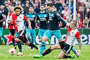 ROTTERDAM - Feyenoord - PSV , Voetbal , Eredivisie , Seizoen 2016/2017 , De Kuip , 26-02-2017 ,  tackle van Feyenoord speler Rick Karsdorp (r) op PSV speler Marco van Ginkel (m) samen met Feyenoord speler Tonny Vilhena (l)