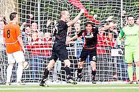 DEN HAAG - HBS - MSC , Sportpark Craeyenhout , Voetbal , Promotie/degradatie topklasse , seizoen 2014/2105 , 28-05-2015 , HBS speler Jan-Paul Saeijs (m) terwijl MSC speler Alex Zomer (l) baalt