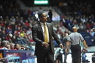 "Ole Miss vs. Missouri coach Frank Haith at the C.M. ""Tad"" Smith Coliseum in Oxford, Miss. on Saturday, February 8, 2014. Mississippi won 91-88. (AP Photo/Oxford Eagle, Bruce Newman)"