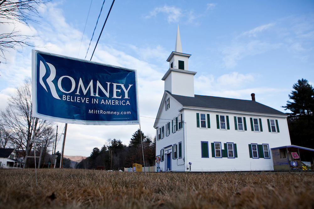 A sign for Republican presidential candidate Mitt Romney by the side of the road on Tuesday, January 10, 2012 in Grafton, NH. Brendan Hoffman for the New York Times