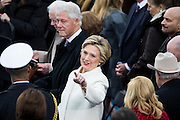 WASHINGTON, USA - January 20: Former President Bill Clinton and his wife former Secretary of State Hillary Clinton arrive for the 58th U.S. Presidential Inauguration where where Donald Trump will be sworn in as the 45th President of the United States of America in Washington, USA on January 20, 2017.