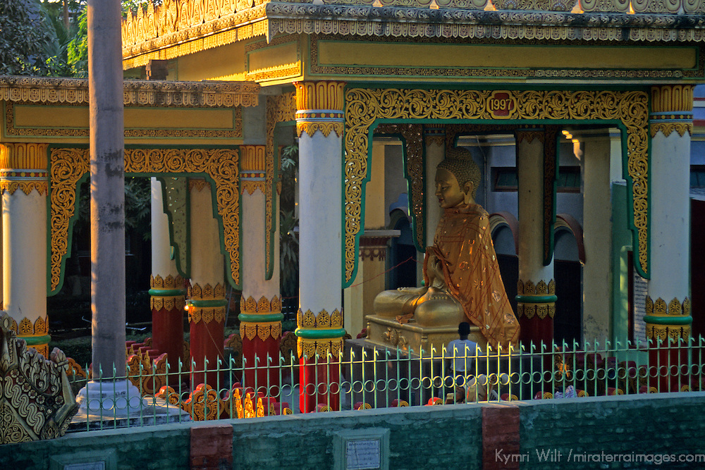 Asia, India, Sarnath. Gold Buddha at Deer Park in Sarnath.