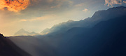 Mountain range at sunrise near Chiesa in Valmalenco, Lombardia, Italy