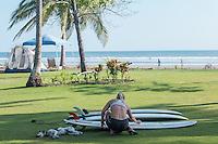 Preparing surf boards in Cost Rica