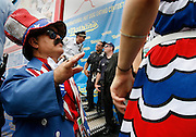 NEW YORK, NY-06 JUL04-- Uncle Sam and New York's finest mingle on stage after the contest.(Extra) The Gazette/Liam Maloney