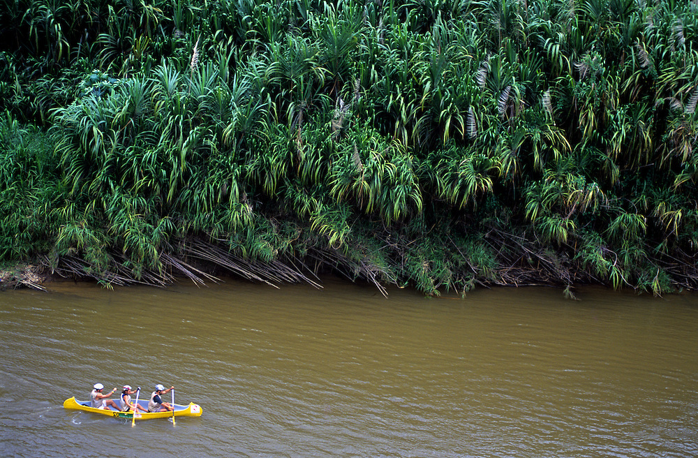 Paddling during adventure race in Brazil.