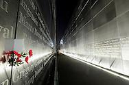 Memorial in Liberty State Park, NJ at night.
