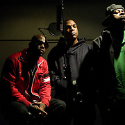 20111205AJ  ..The hip-hop group Naughty By Nature, originally of East Orange, New Jersey, is photographed at the Pulse Music recording studio in New York City on December 5, 2011. Pictured are, from left, Treach, Vin Rock and DJ Kay Gee. ...photo by Angela Jimenez/ for The Star-Ledger ....