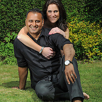 Portrait photo shoot with Justine and Amit Sudra with their children Harvey and Scarlett at their home in Sandhurst Kent.<br />