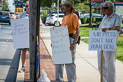 """Rally in support of Israel held in Lancaster, PA. Featured speakers were, Israeli Consul General Yaron Sideman, David Hazony of the Israel Project, and Congressman Joe Pitts, The topic which they addressed was """"The Iran Nuclear Deal - the Consequences for America and Israel"""".  Demonstrators in support of Iran Nuclear plan."""
