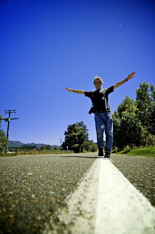 "Photographer Jose Maria Pimentel balancing on his steady ""slackline"".  New Zealand."