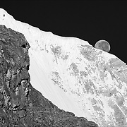 Moonset and Huandoy Sur (South) 6160m.  Viewed from Pisco Base Camp 4700m. Nikon D200, 70-200/2.8.